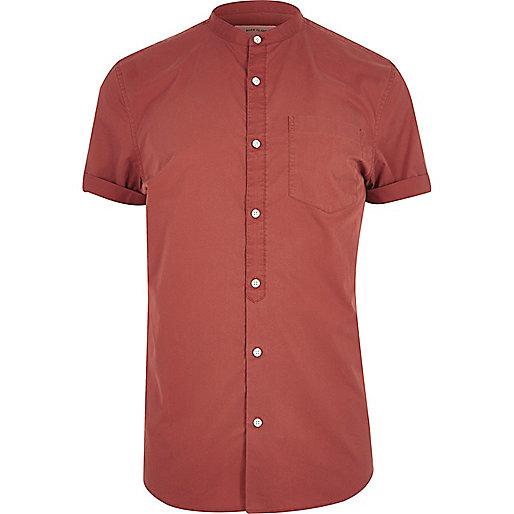 Orange twill grandad short sleeve shirt