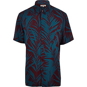 Purple palm tree print short sleeve shirt