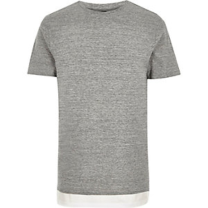 Grey longline double layer t-shirt