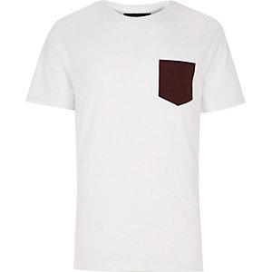 White textured chest pocket t-shirt
