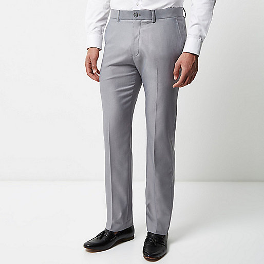 Grey tailored suit pants