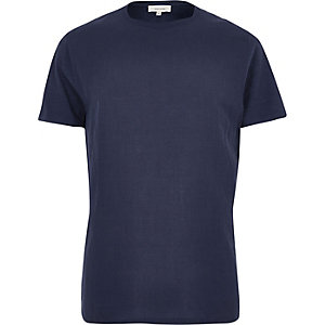 Navy woven front t-shirt