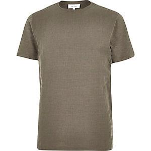Khaki woven front t-shirt