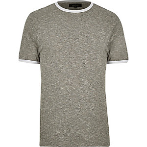 Grey contrast neck trim slim fit t-shirt