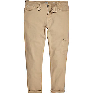 Tan slim tapered pants