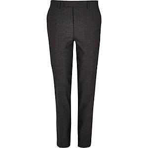 Pantalon de costume à carreaux gris coupe skinny