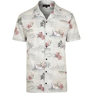 Ecru Hawaiian print polo shirt