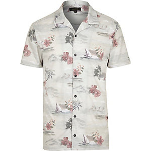 Ecru Hawaiian print polo shirt