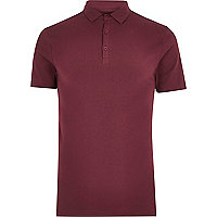 Dark red muscle fit polo shirt