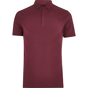 Burgundy muscle fit polo shirt