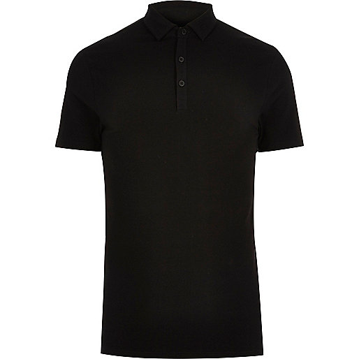 Black muscle fit polo shirt