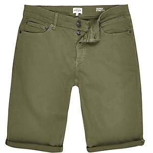 Khaki denim skinny shorts