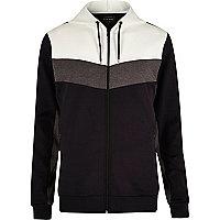 Navy color block zip hoodie