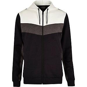 Navy colour block zip hoodie