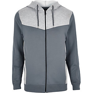 Grey colour block zip hoodie