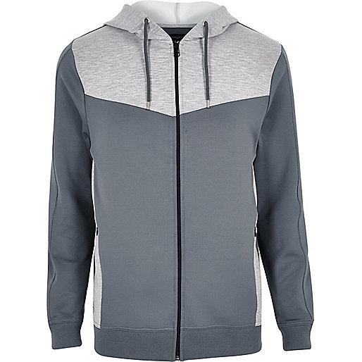 Grey color block zip hoodie