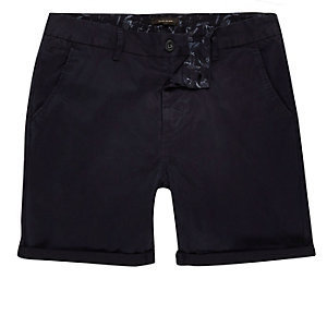 Navy slim fit shorts