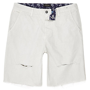 Grey distressed slim fit shorts