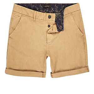 Tan slim fit shorts