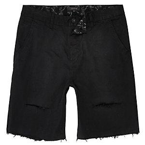 Black distressed slim fit shorts