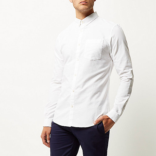 White Casual Slim Fit Oxford Shirt Long Sleeve Shirts