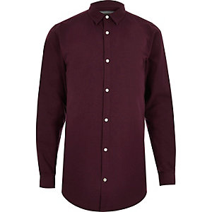 Red longline Oxford shirt