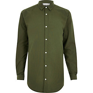 Khaki longline Oxford shirt