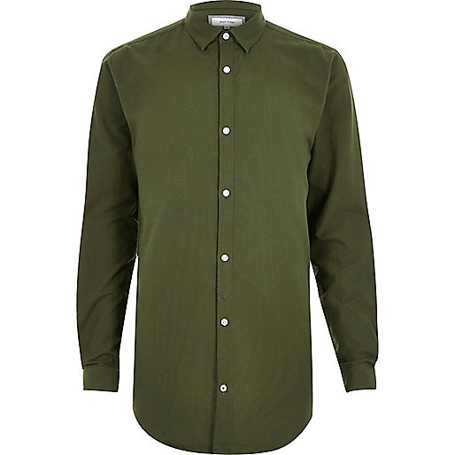 Khaki casual longline Oxford shirt