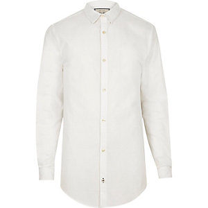 White longline Oxford shirt