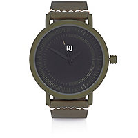 Dark green rubber minimal watch