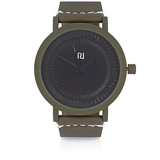 Dark green rubber minimal watch