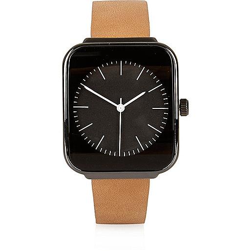 Hellbraune Armbanduhr mit eckigem Ziffernblatt