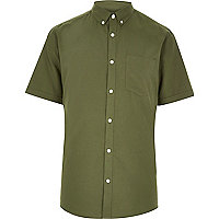 Khaki casual slim fit Oxford shirt