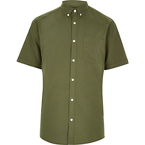 Khaki slim fit short sleeve Oxford shirt
