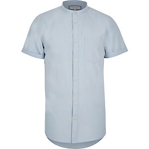 Blue slim fit grandad collar shirt