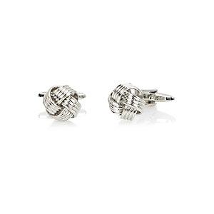 Silver tone knot cufflinks