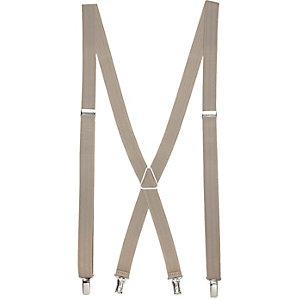 Ecru herringbone suspenders