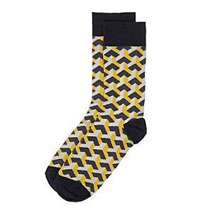 Navy geometric socks