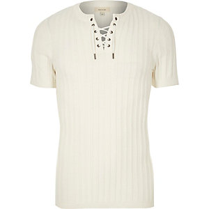 White ribbed lace-up slim fit sweater