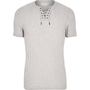 Grey ribbed lace-up slim fit sweater