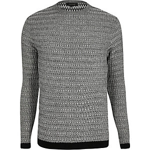 Grey textured ribbed slim fit sweater