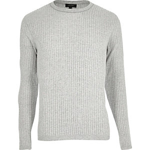 Grey ribbed slim fit sweater