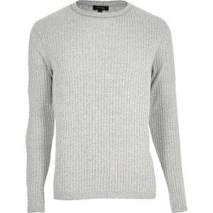 Grey ribbed slim fit sweater