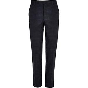 Blue window pane slim suit trousers