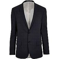 Veste de costume à quadrillage bleue cintrée