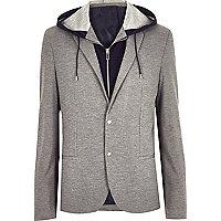 Grey hooded blazer