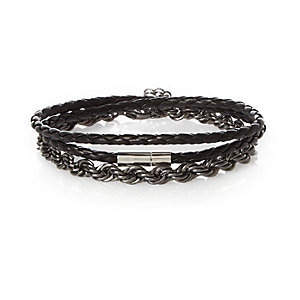 Black twisted metal leather bracelet