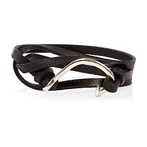 Black leather hook wrist wrap