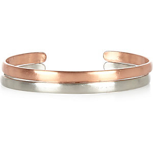 Silver and copper tone double cuff pack