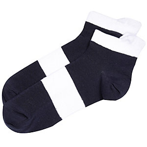 Navy white block stripe sneaker socks